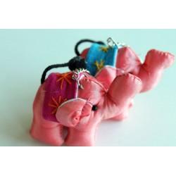 Schlüsselanhänger / Anhänger Stoffelefant Rose