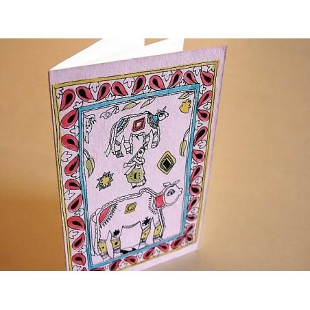 Handbemalte Karte mit Madhubani + Kuvert