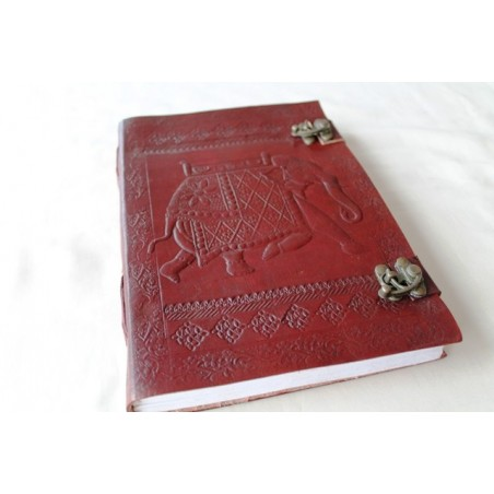2. Wahl: Leder Tagebuch mit Elefanten Motiv 25x18 cm - LEDER-N110A