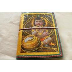B-Ware: Typisches indisches Notizbuch mit Gottheit Krishna Kind (mittel) - NOTIZ-OM071
