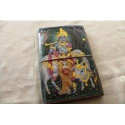 Typisches indisches Notizbuch mit Gottheit Krishna (groß) - NOTIZ-OG150