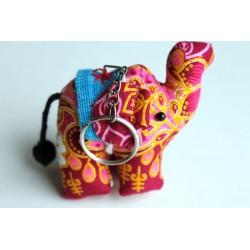 Schlüsselanhänger / Anhänger Stoffelefant Violett/Pink