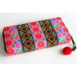 Geldbörse Brieftasche Portemonnaie Boho mit Hmong Stoff - BÖRSE611