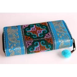 Geldbörse Brieftasche Boho mit Hmong Stoff Elefant - BÖRSE614