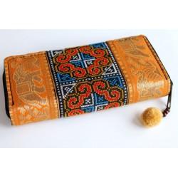 Geldbörse Brieftasche Boho mit Hmong Stoff Elefant - BÖRSE615