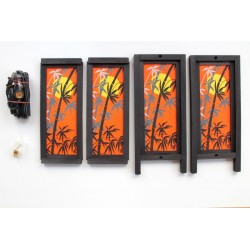 Lampe Thailand Bambus in Orange