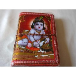 Typisches indisches Notizbuch mit Gottheit Krishna (klein) - NOTIZ-OK003