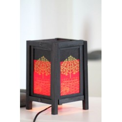 Lampe Thailand Lotus Rot / Schwarz Höhe 20cm